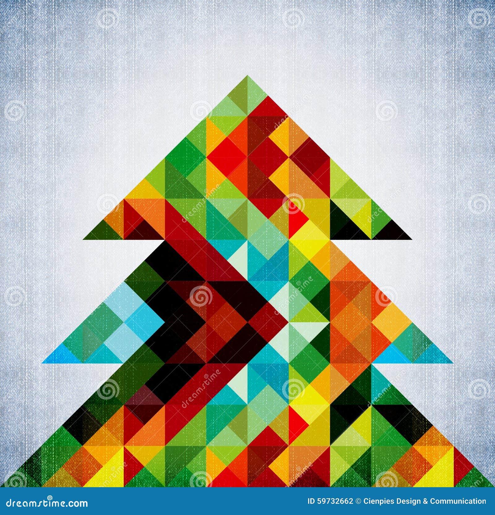 christmas tree hipster color design background stock illustration