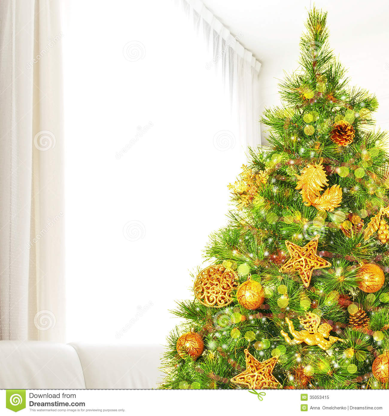 Christmas Tree At Home Stock Image. Image Of Bubble