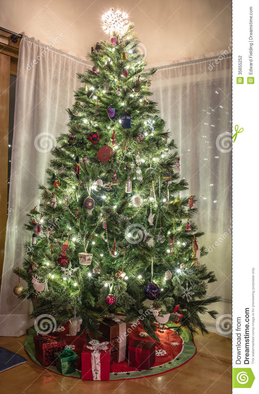 Christmas tree in home stock photography image 35655252 for At home christmas