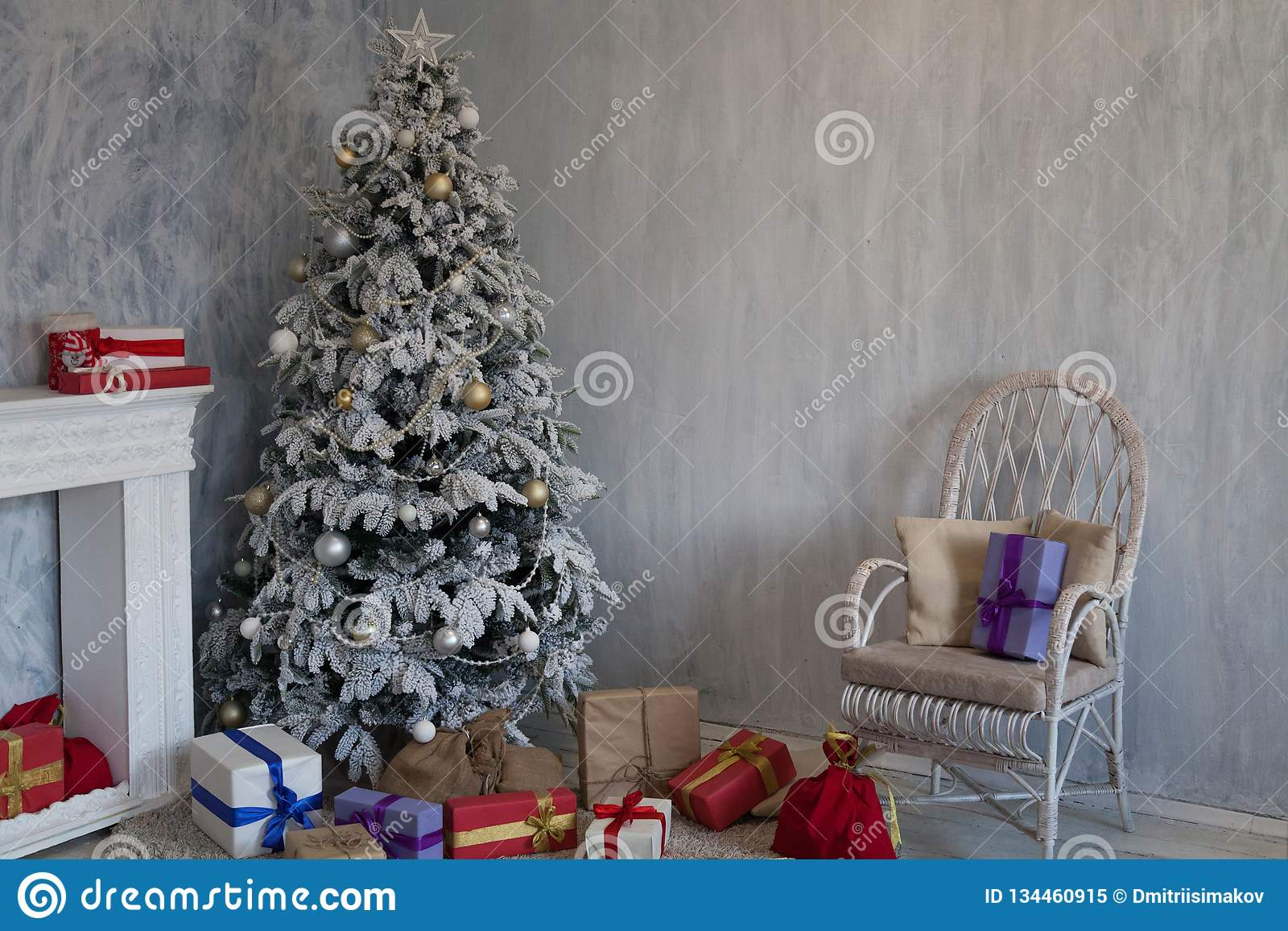Christmas Tree House Interior New Year Holiday Gifts Winter Decor