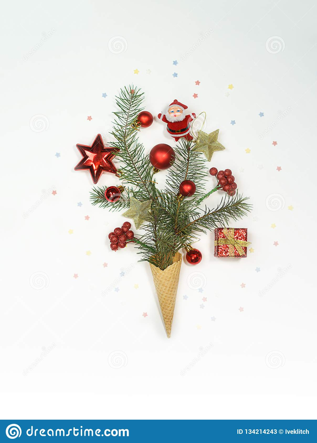 Christmas Tree Ice Cream Winter Holiday Concept Flat Lay Top View Copy Space Stock Image Image Of Background Cold 134214243