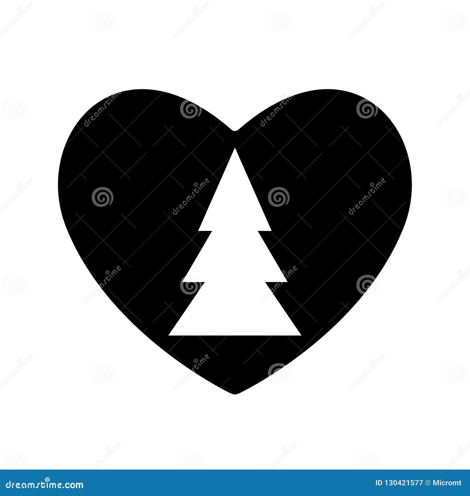 Christmas tree icon black in heart valentine. Symbol New Year love. Sample silhouette flat simple design. Fir-tree bazaar, fair of