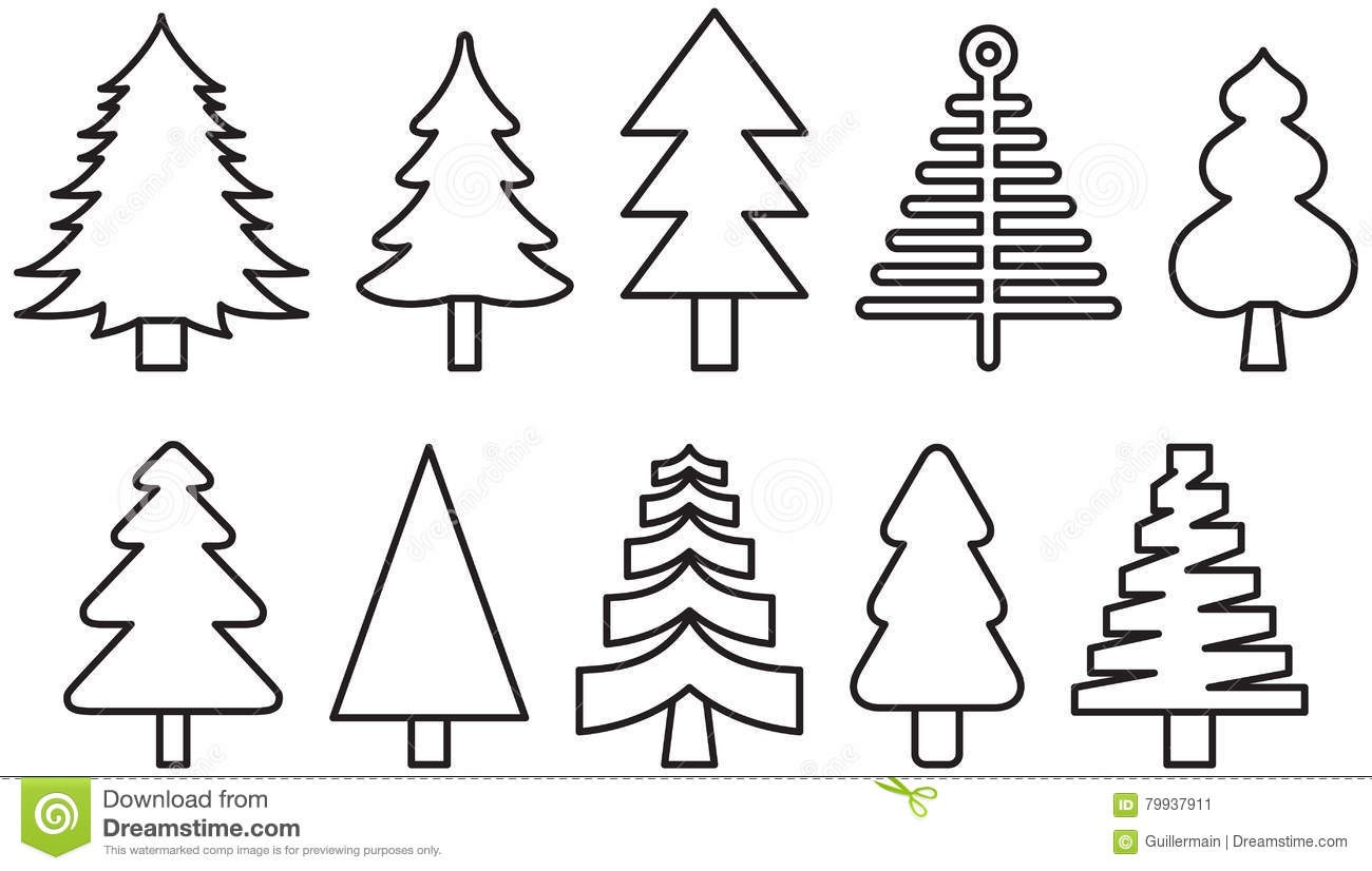 Christmas Tree Outline.Christmas Tree Icons Stock Vector Illustration Of Design