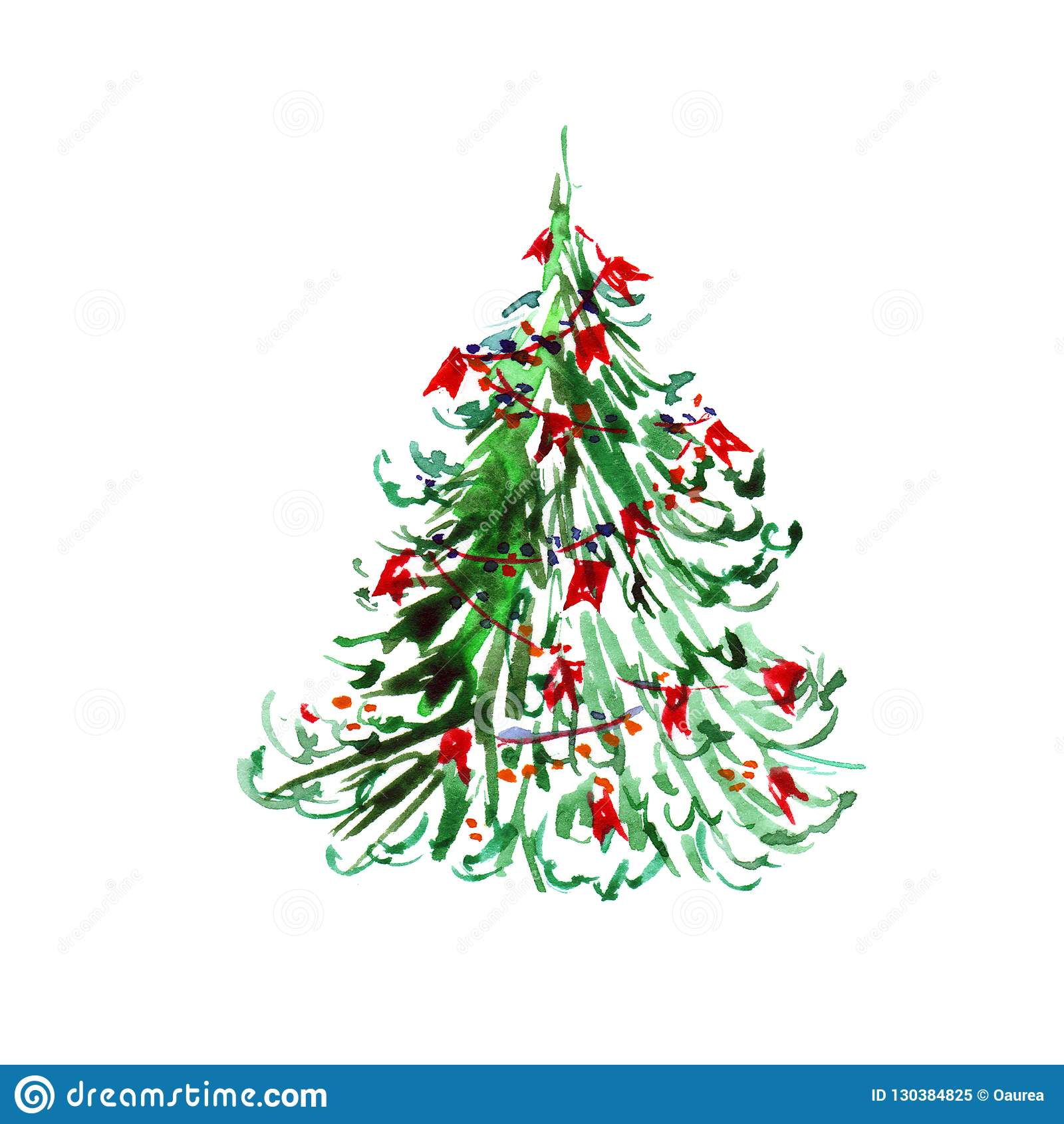 Christmas Tree Watercolor New Year Greeting Card Witn Christmas Fir