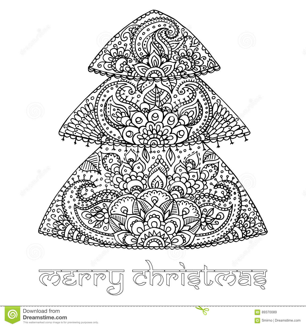 Christmas Tree With Indian Floral Paisley Pattern. Black And Whi ...