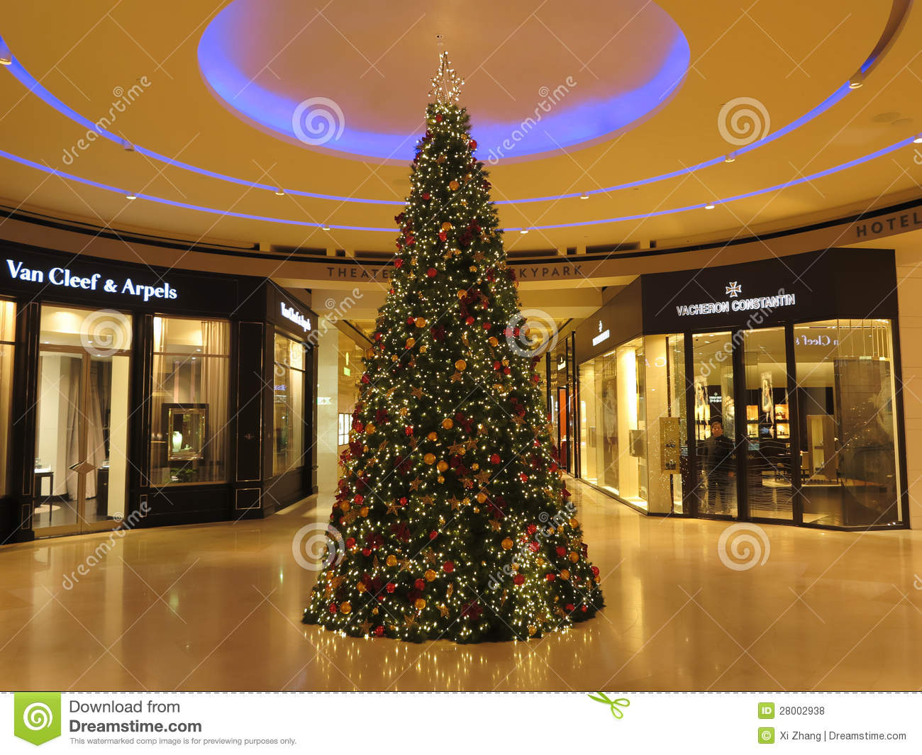 Christmas tree inside view of shopping mall editorial for Best places for christmas shopping