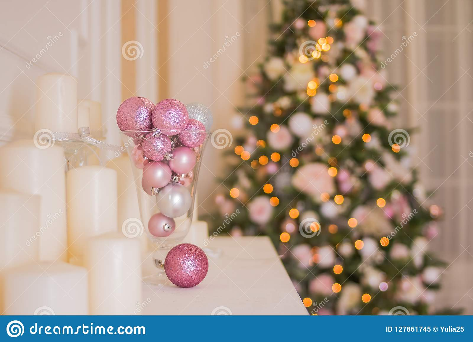 Christmas Decoration Indoors.Christmas Tree Interior Xmas Fireplace In Pink Decorated