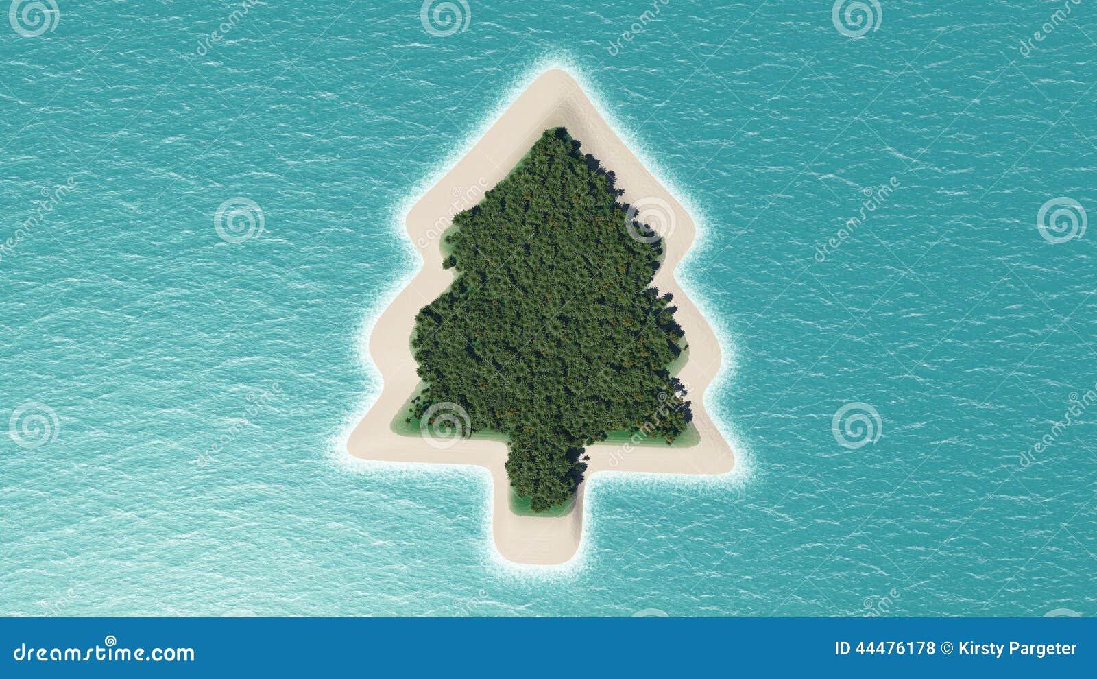 Island Christmas Tree.Christmas Tree Island Stock Illustration Illustration Of