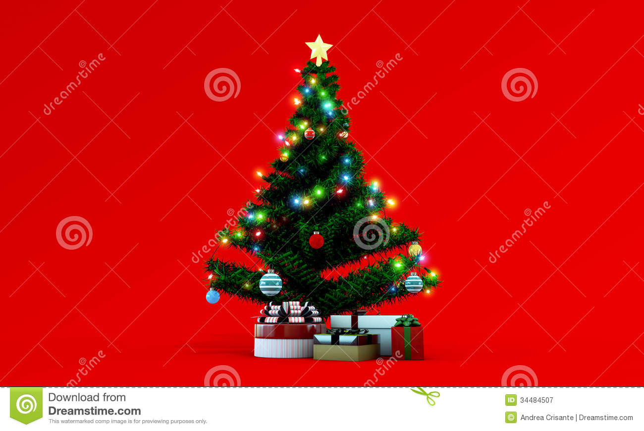 red christmas tree background - photo #11