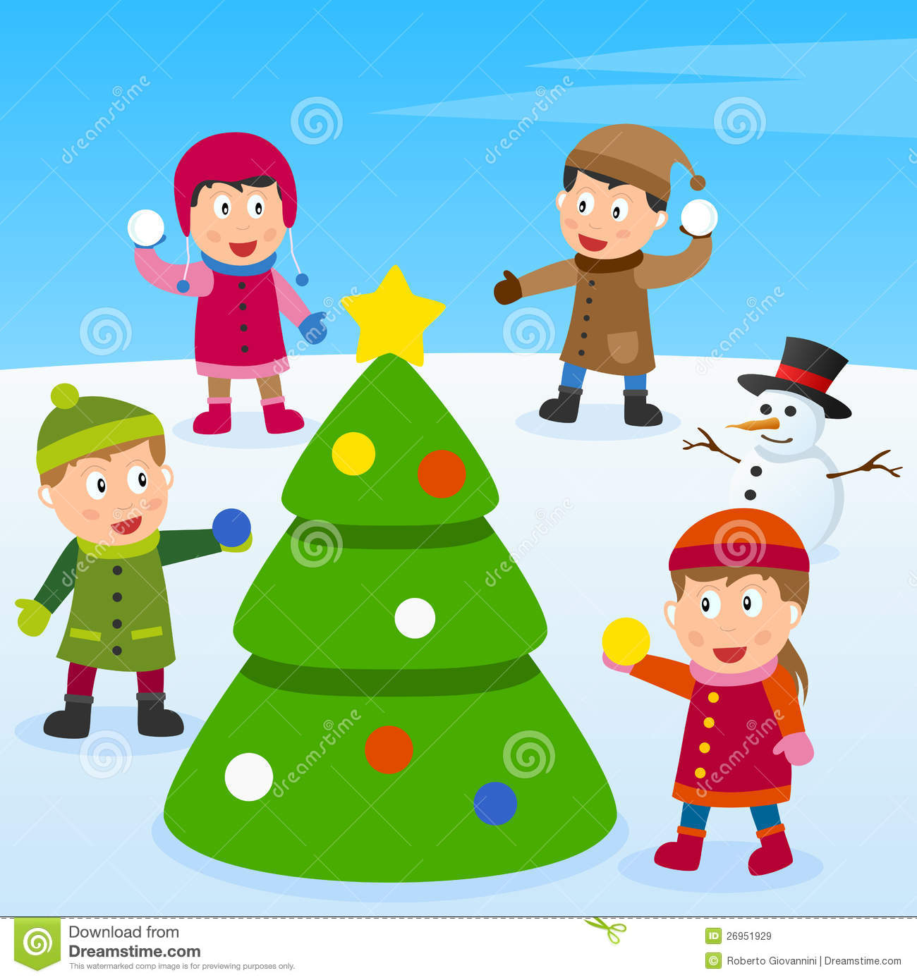 Christmas Tree and Kids stock vector. Illustration of funny - 26951929