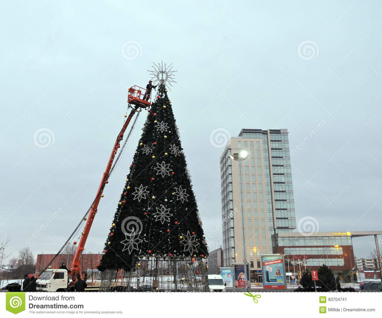 Christmas Tree In Klaipeda, Lithuania Editorial Photo