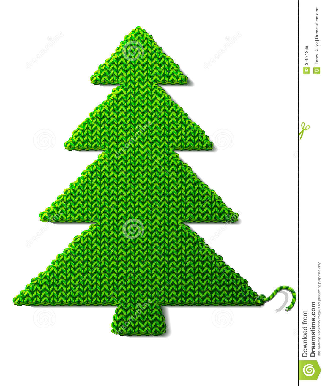 Christmas Tree Of Knitted Fabric Isolated On White Royalty Free ...