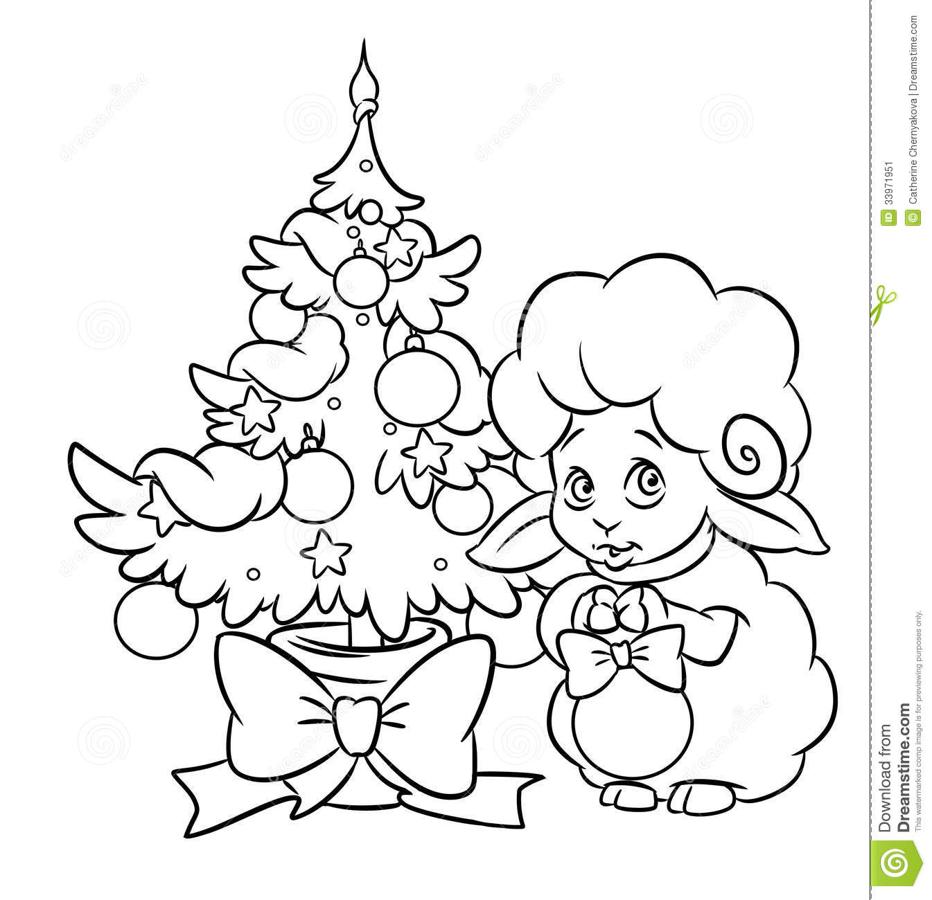 Christmas Tree Lamb Coloring Page
