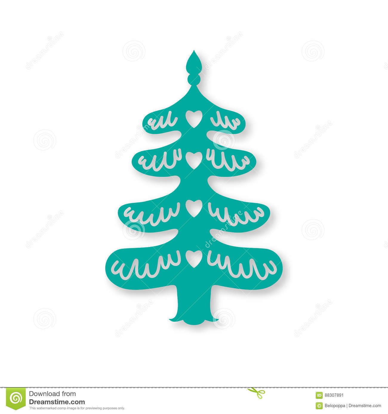 Christmas Tree Laser Cutting Template Stock Image