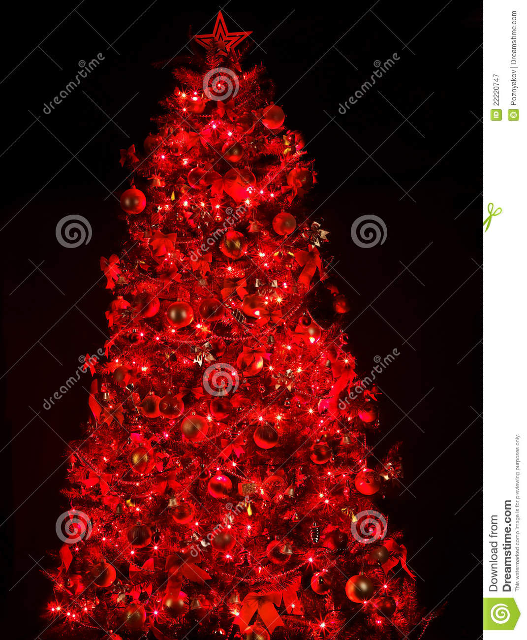 Christmas Tree With Light And Red Ball. Stock Image - Image of light ...