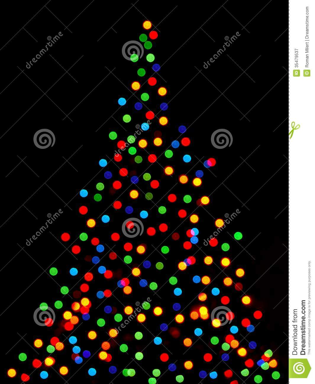Christmas Tree Lights Stock Image. Image Of Blue