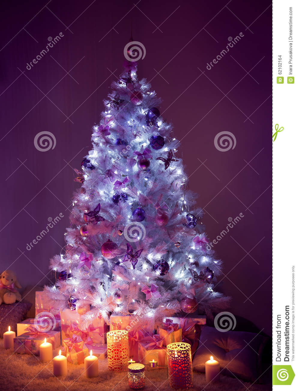 Christmas tree with presents and lights - Candles Christmas Dark Decorated Gifts Lights Night Presents Tree