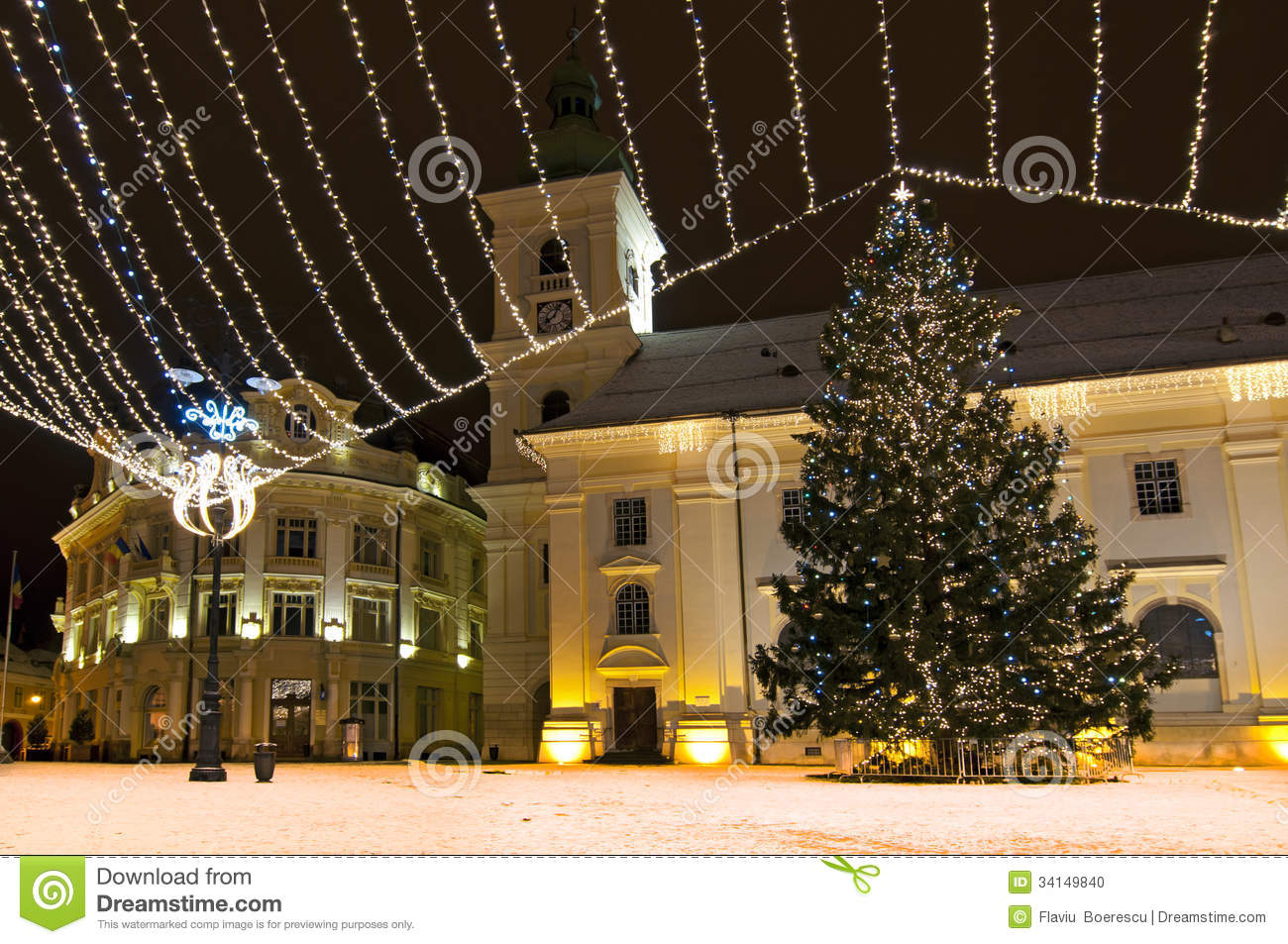 Christmas tree and lights in old town square
