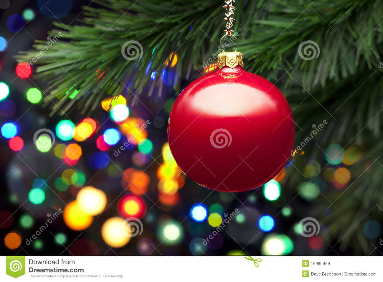 Christmas Tree Lights And Ornament Stock Image