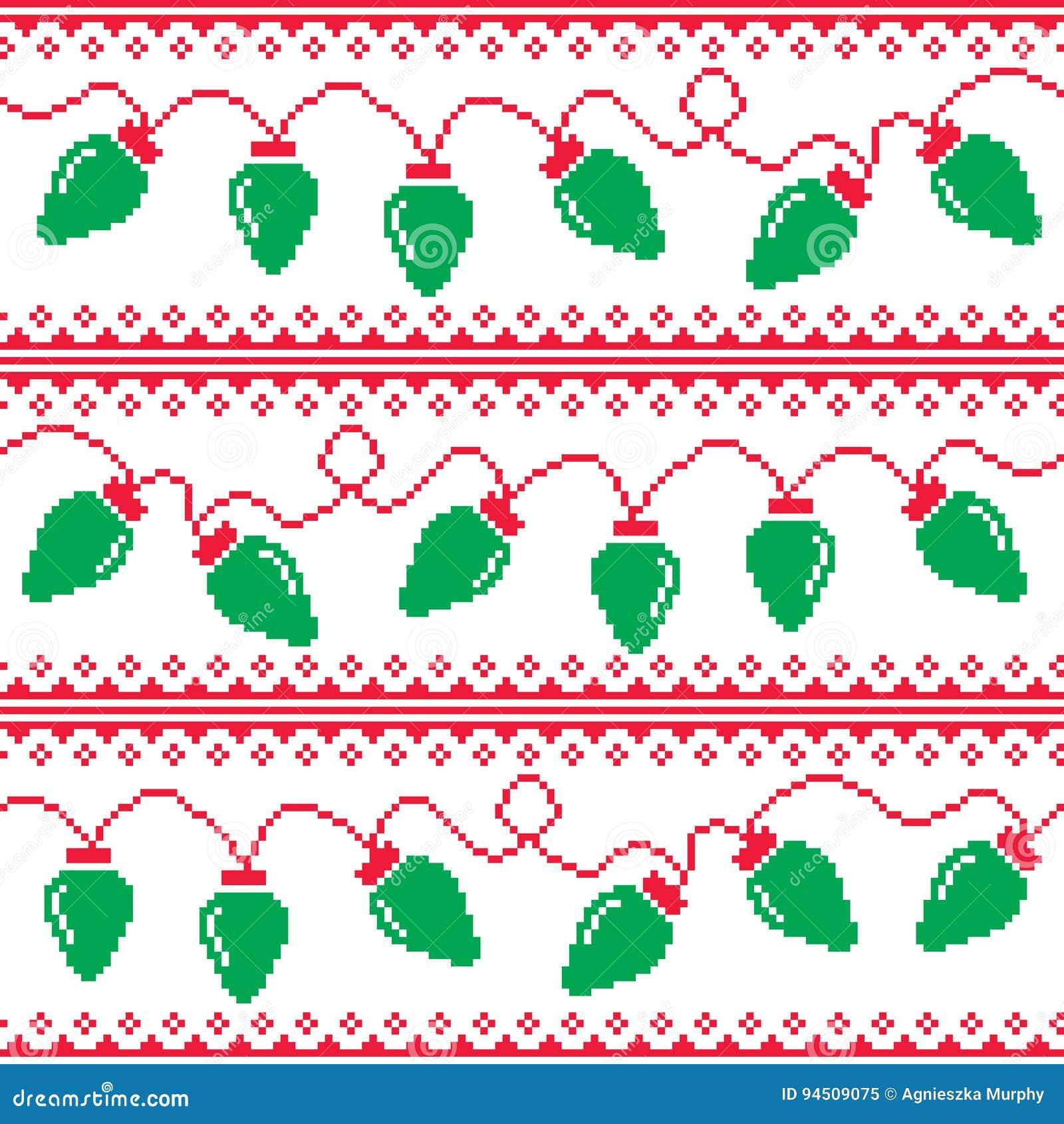 Christmas Tree Lights Seamless Pattern Ugly Christmas