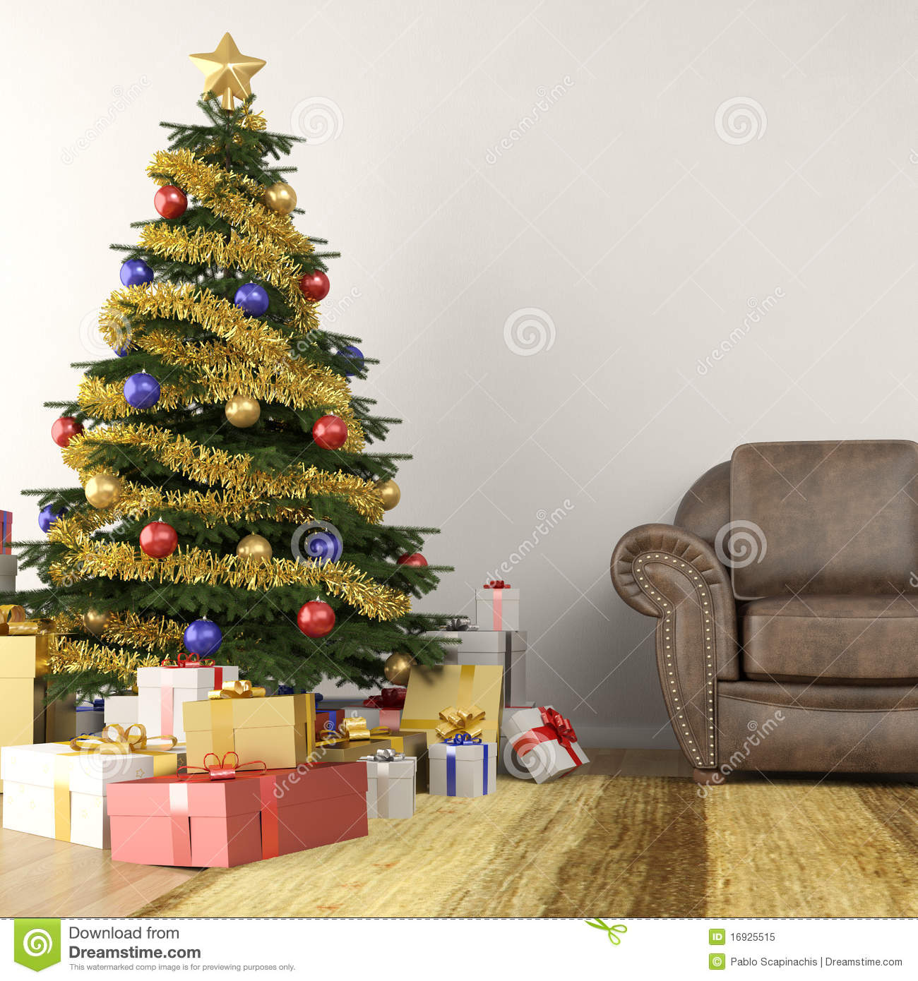 Christmas Tree In Living Room christmas tree in living room royalty free stock photo - image