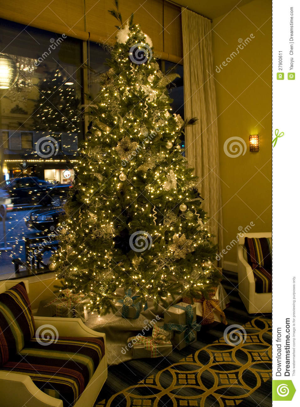 Christmas Tree In Living Room Stock Image Image 27900611