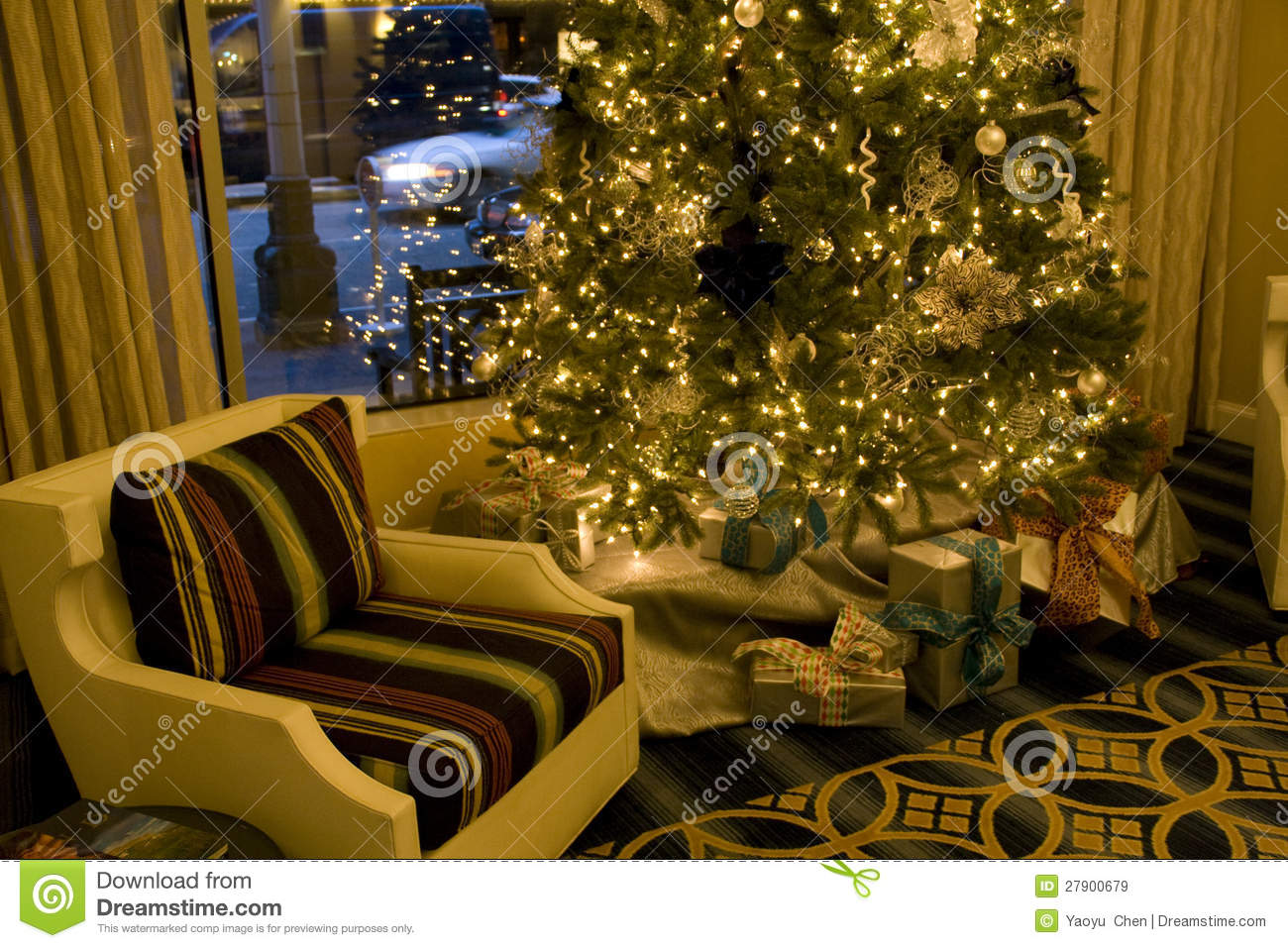 Cozy Holiday Room With Christmas Tree Stock Image