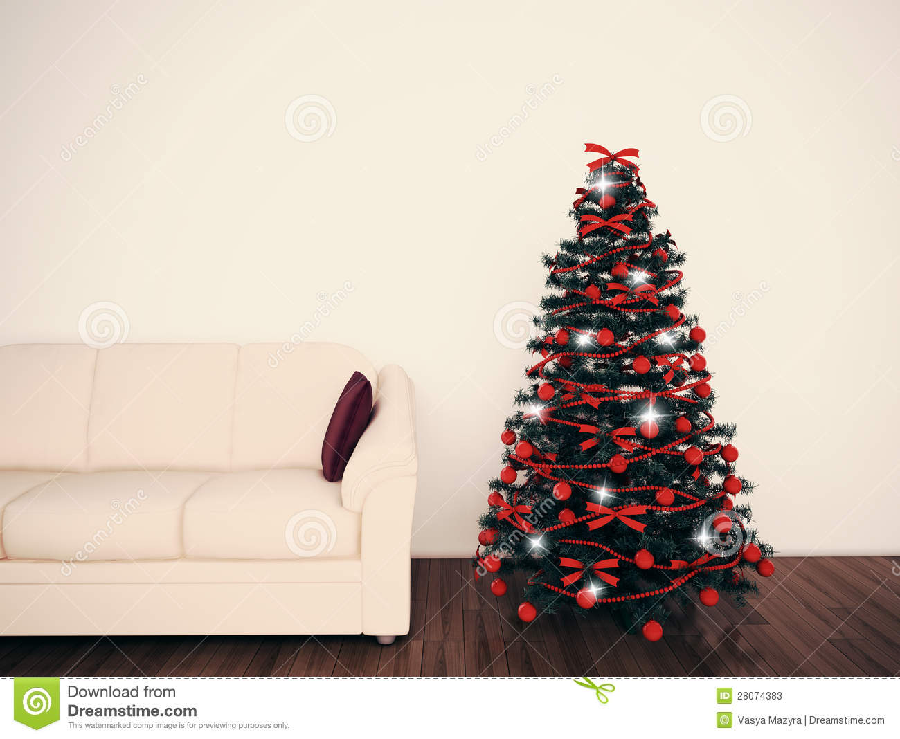 Christmas Tree In Living Room Stock Photos Image 28074383