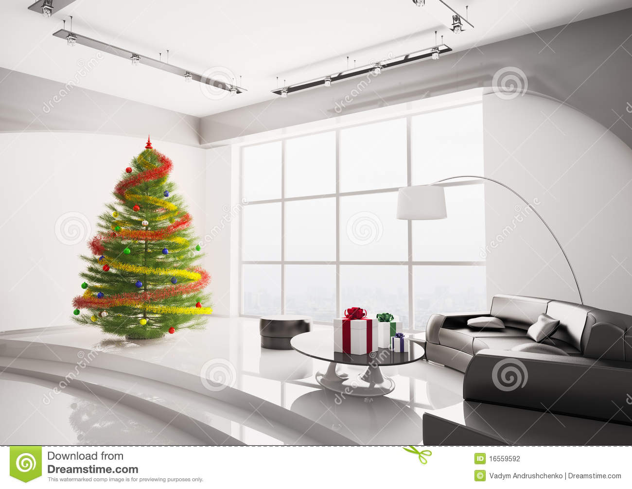 Christmas Tree Living Room christmas tree in living room interior 3d render royalty free