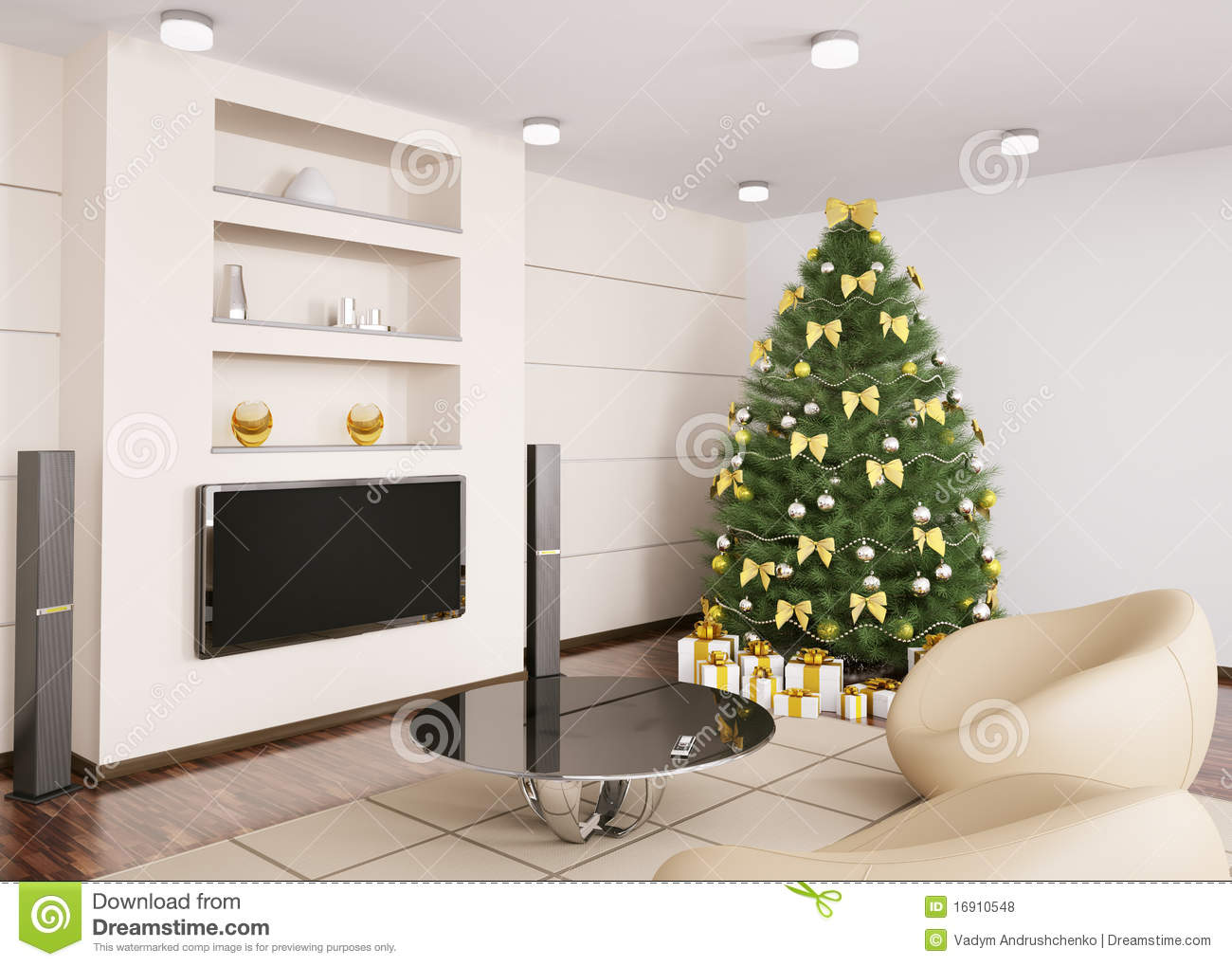 Christmas Tree In Living Room christmas tree in living room interior 3d royalty free stock