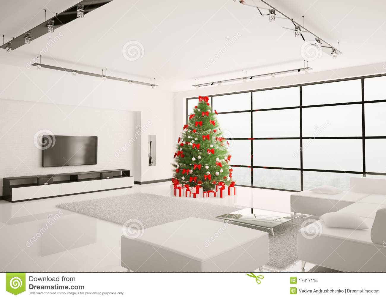 Christmas Tree In Living Room Interior 3d Render Stock