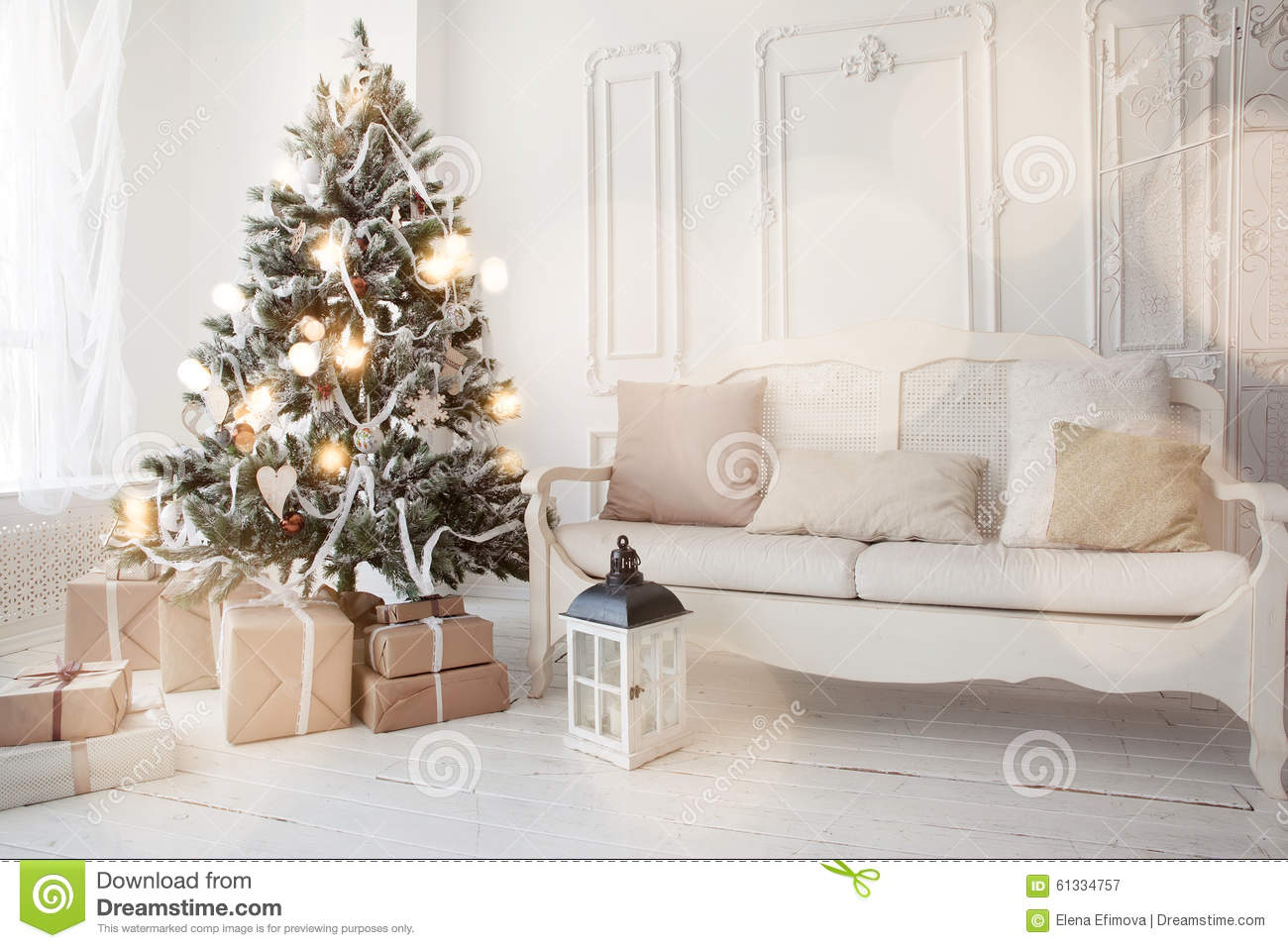 Christmas tree in living room stock image image of - Christmas tree in living room ...