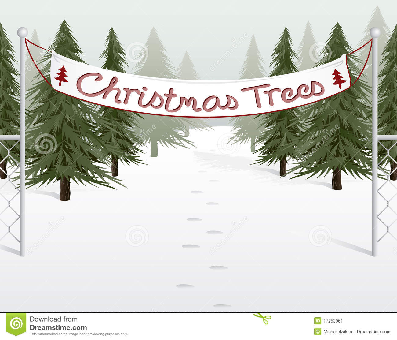 Christmas tree lot stock vector image of snow