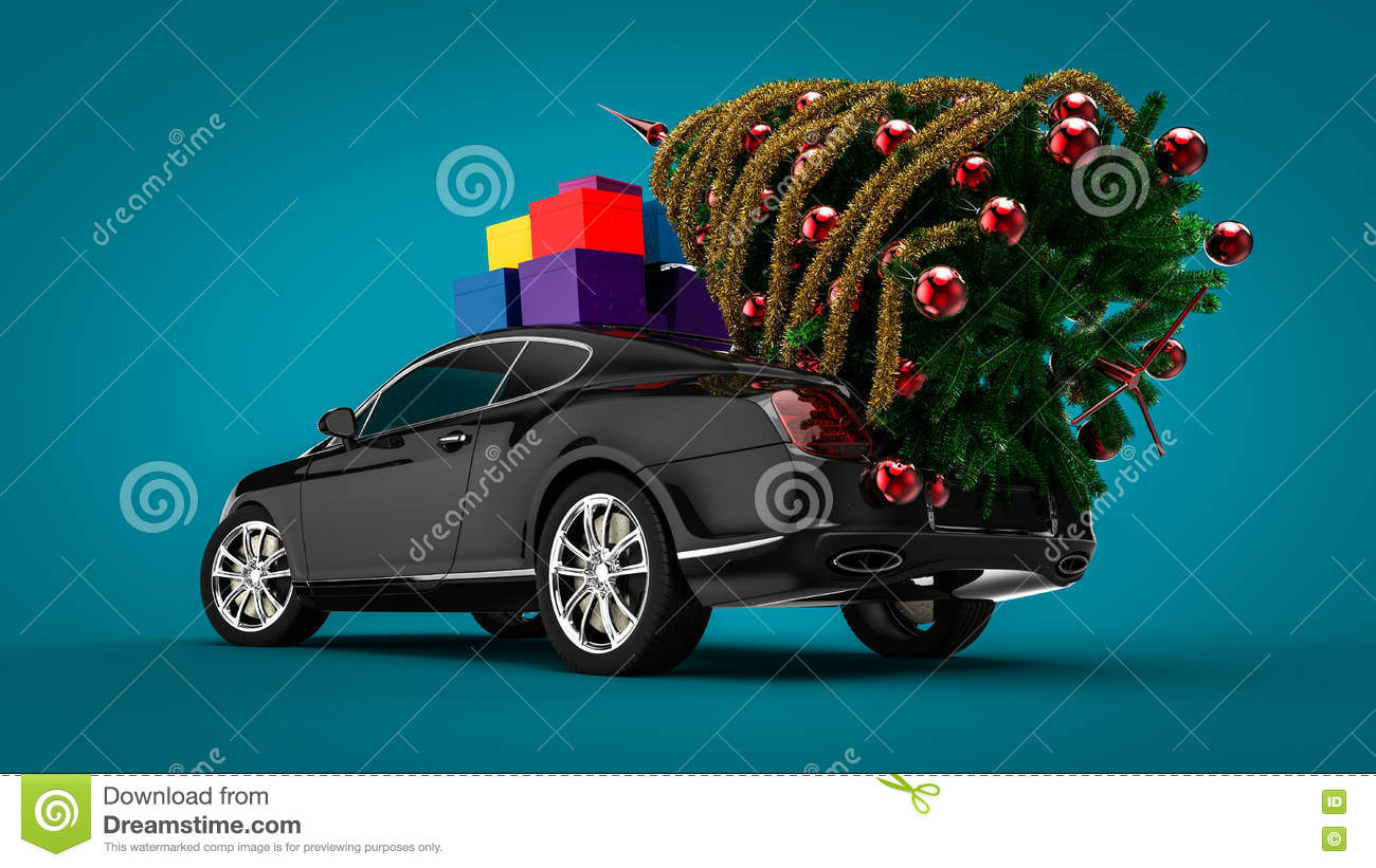 Christmas Tree With A Luxury Car Stock Illustration Illustration