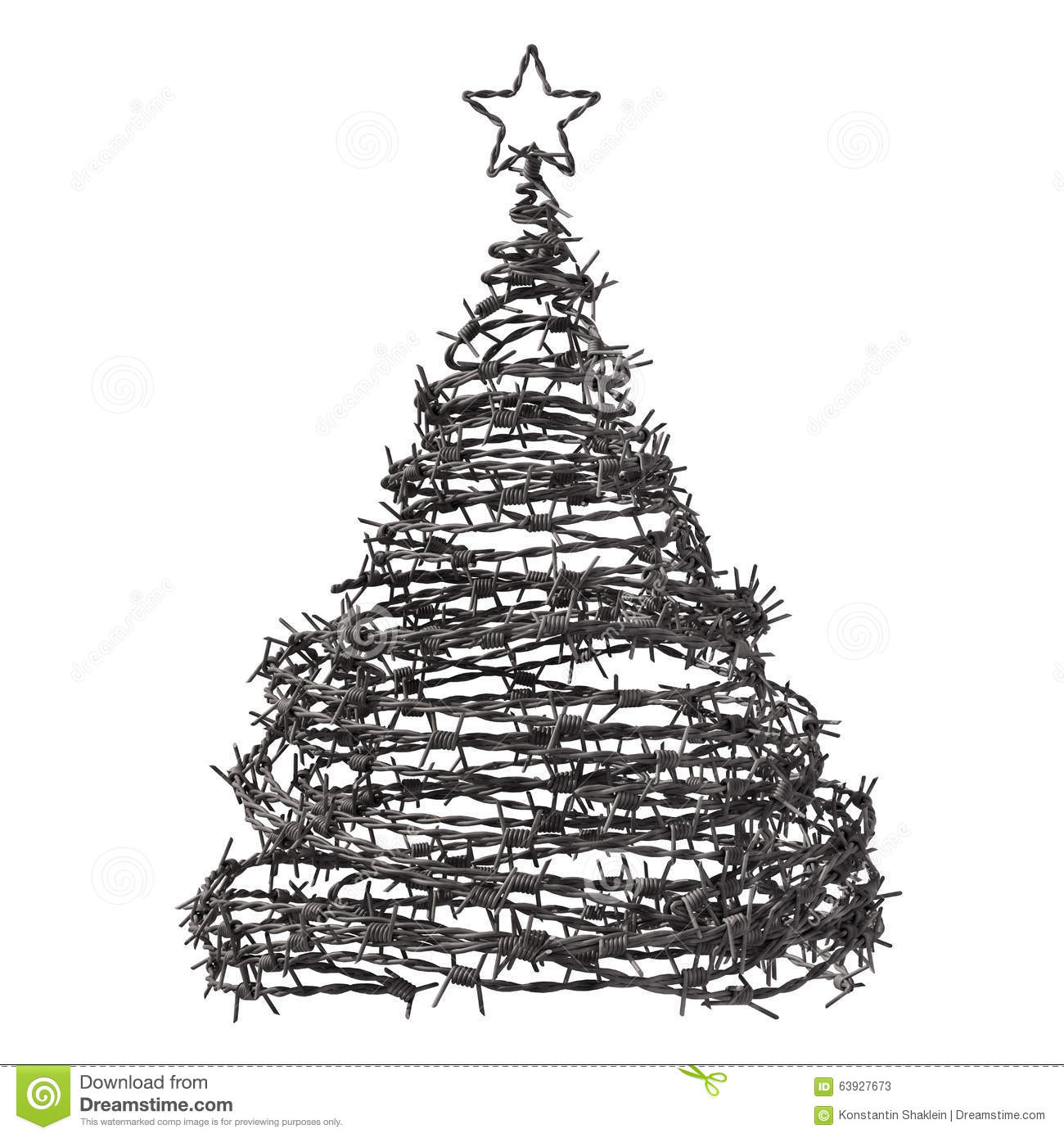 christmas tree made from barbed wire stock illustration. Black Bedroom Furniture Sets. Home Design Ideas