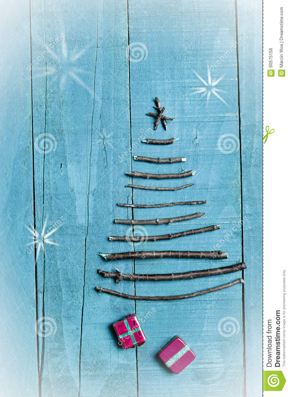 Christmas Tree Made From Dry Sticks On Wooden, Blue ...