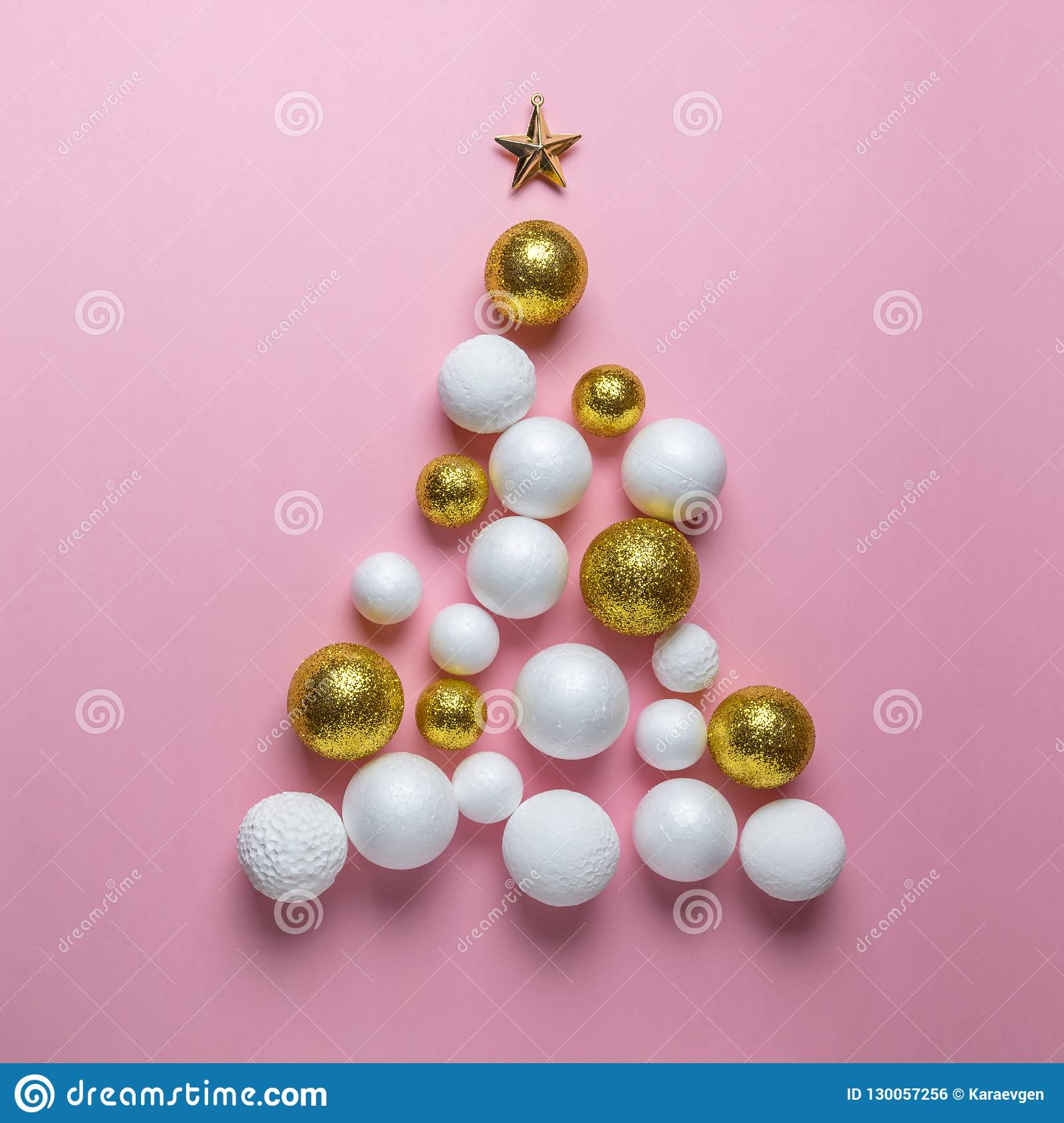 Christmas Tree Made Of Gold White And Red Glitter Ball Decoration On Pink Background Stock Photo Image Of Life Decoration 130057256