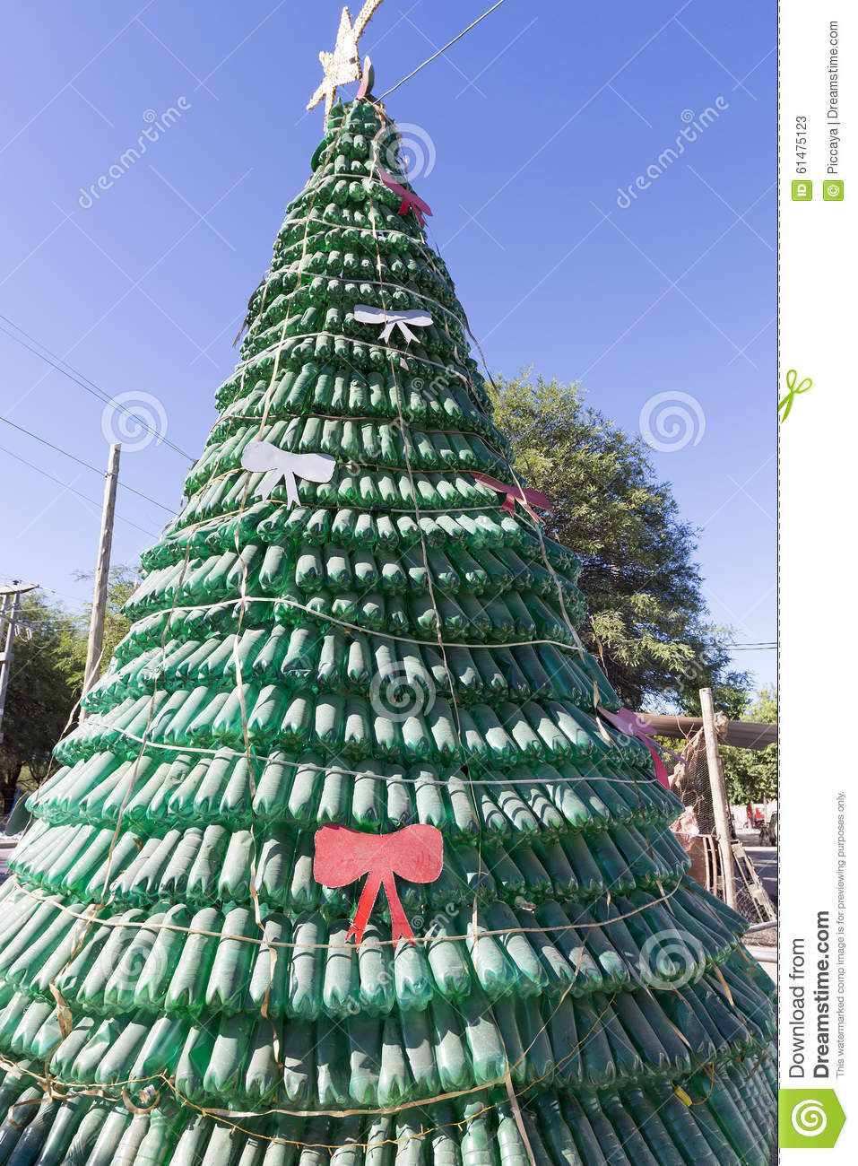 Christmas Tree Made Of Green Plastic Recycled Bottles
