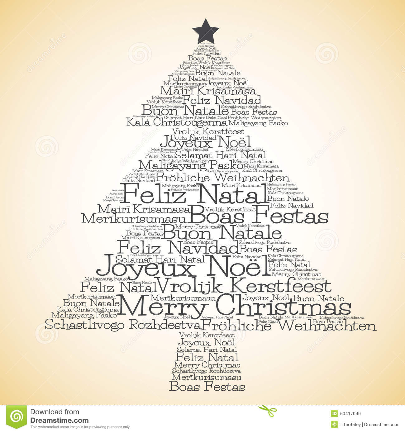 christmas tree made from merry christmas in different languages stock vector
