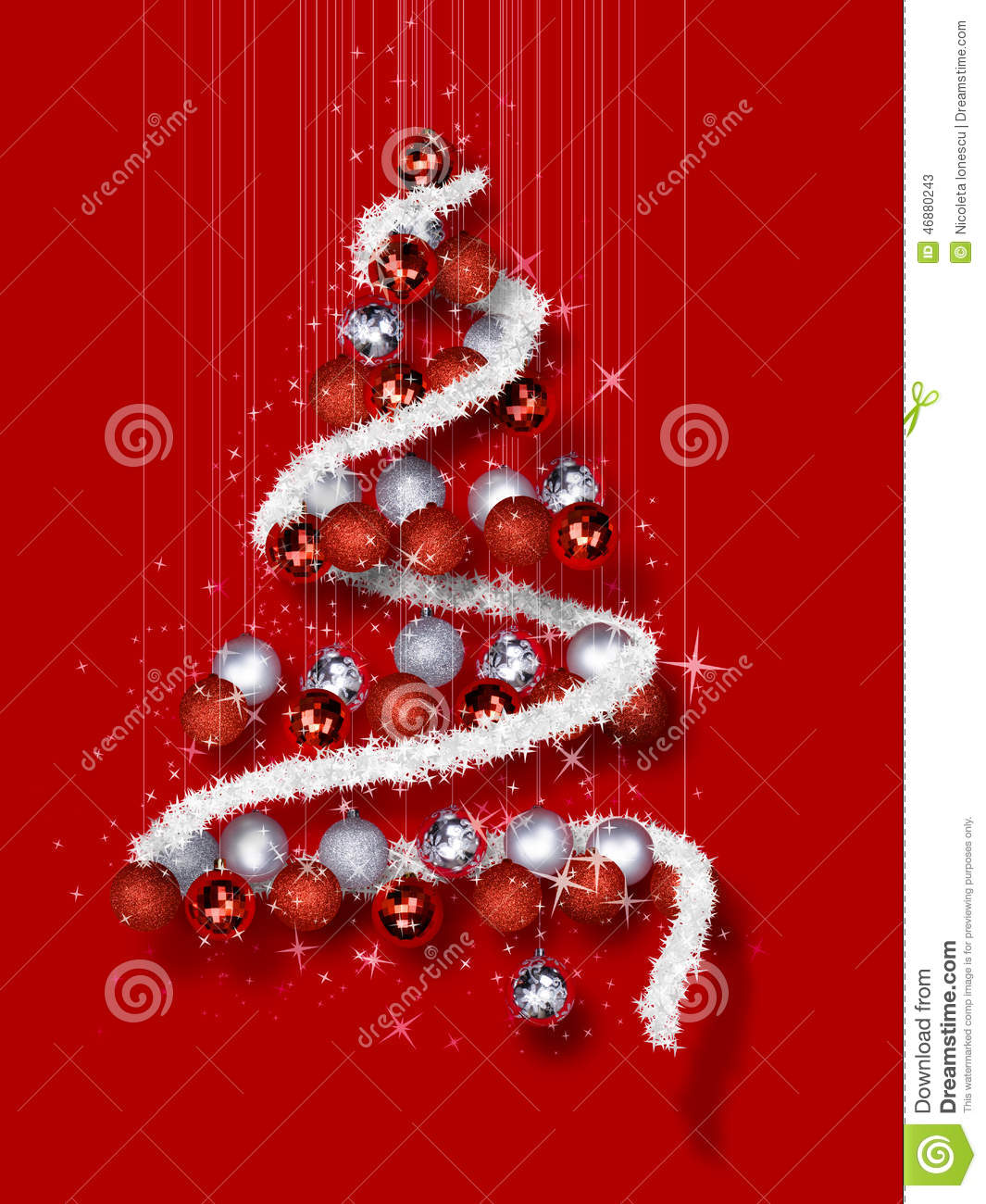 Download Christmas Tree Made Of Ornaments On Red Background Stock Image