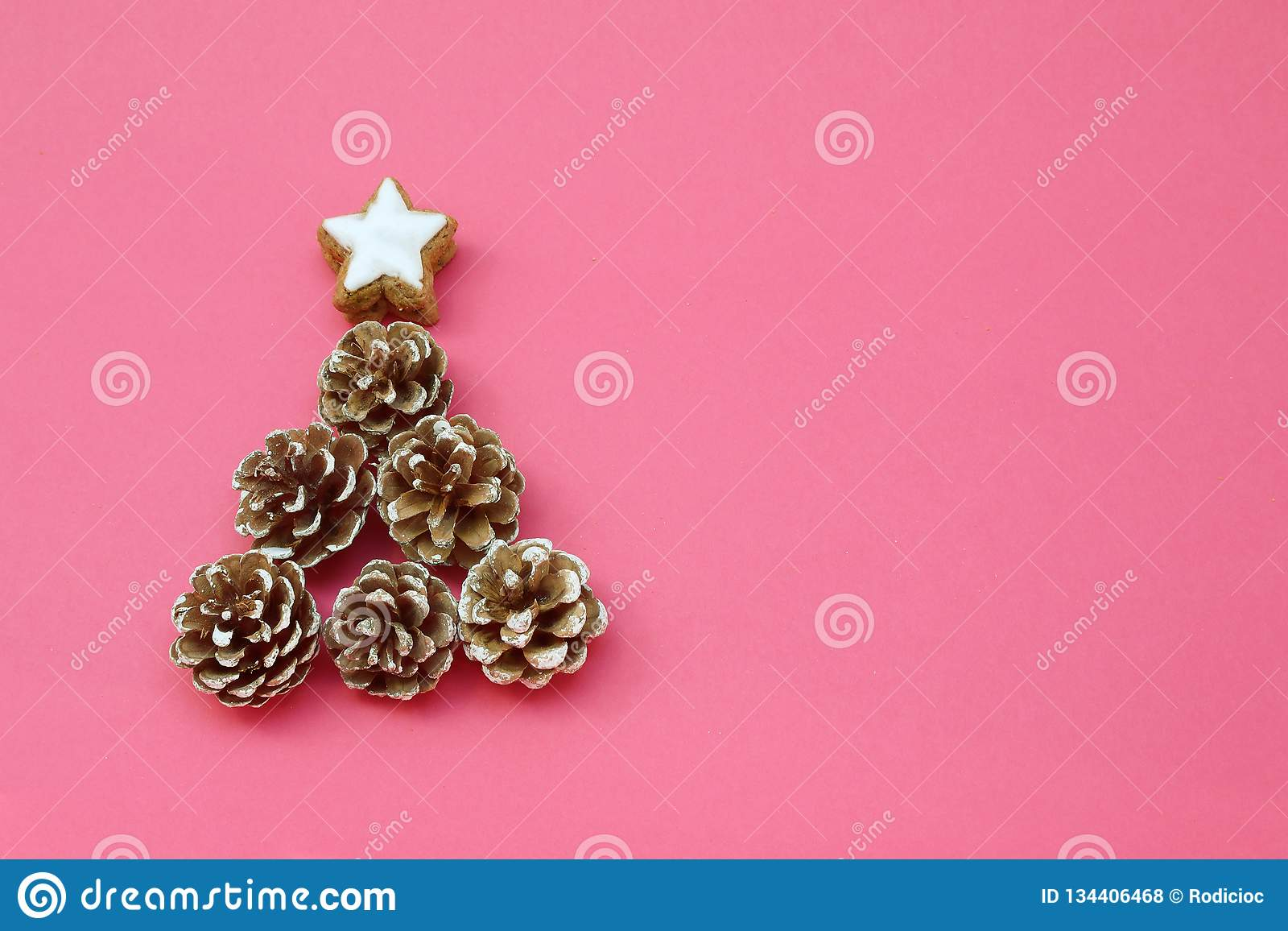 Christmas Tree Made Of Pinecones Ans With A Star Shaped Cookies On The Top Stock Photo Image Of Tree Cookies 134406468