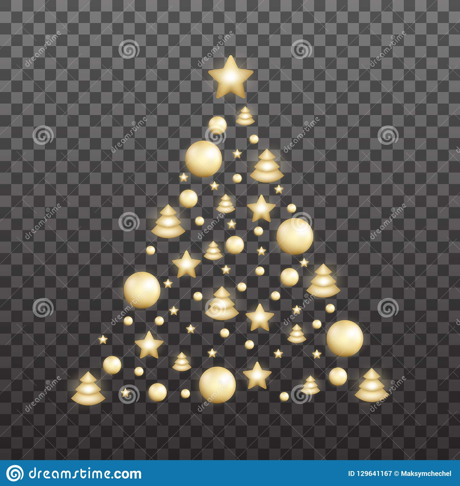 Christmas tree made of shiny gold decorations. Shiny Xmas balls collect in a Christmas tree shape