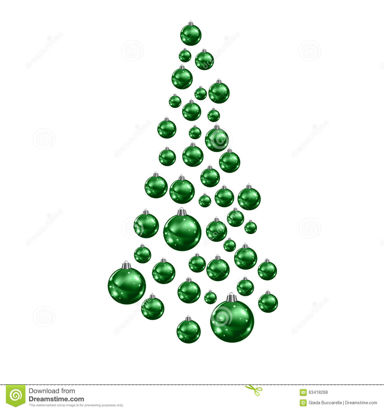 Christmas tree made of suspended green balls