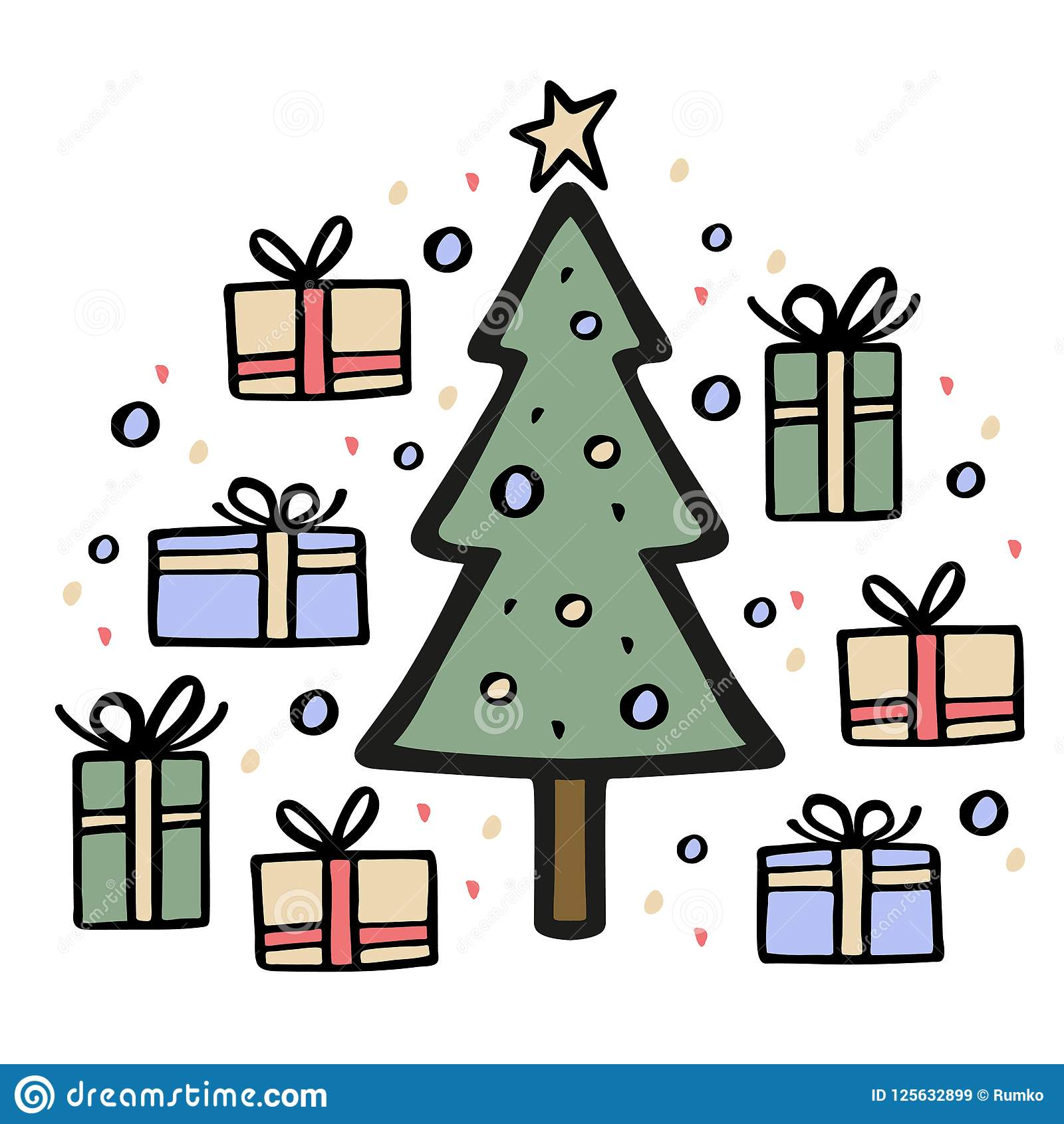 Christmas Tree With Many Gifts Around. Hand Drawn Vector ...