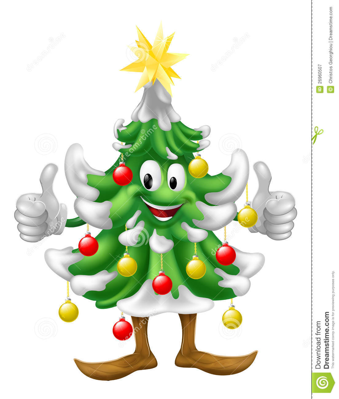 Christmas tree mascot doing thumbs up royalty free stock photography