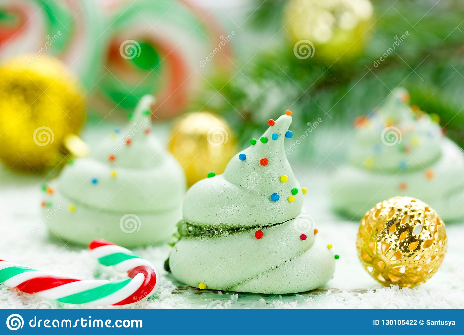 Christmas Tree Meringue.Christmas Tree Meringue Homemade Green Meringues Stock