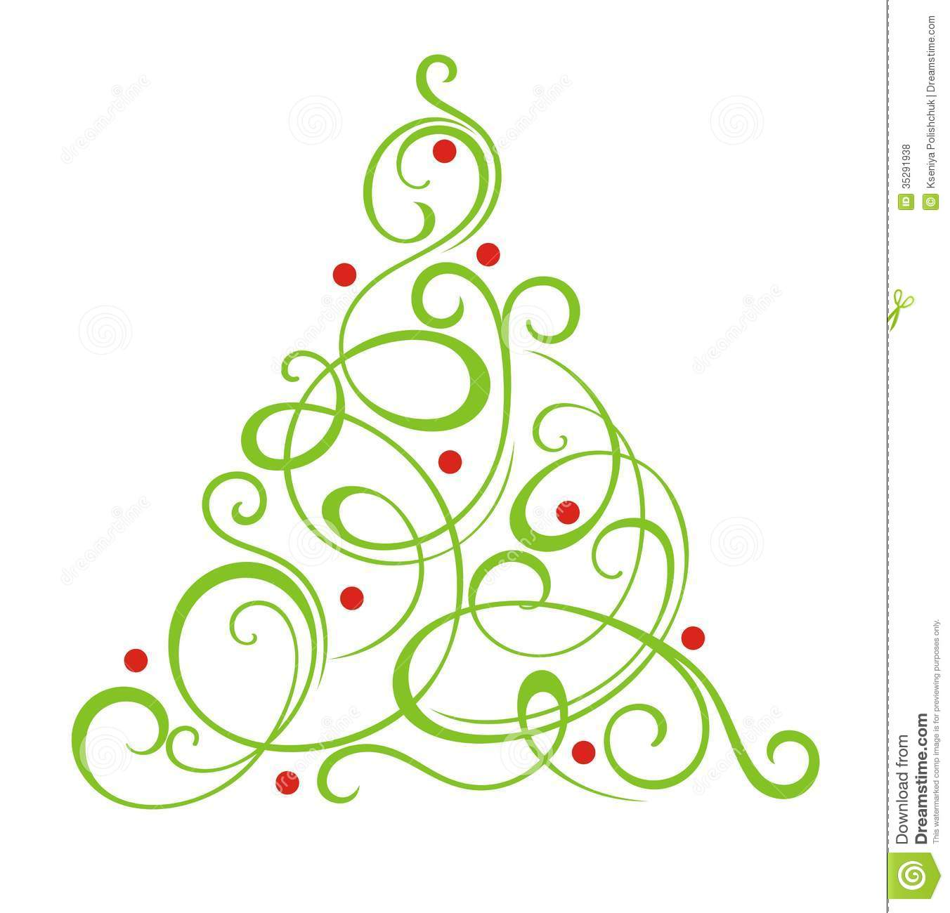Christmas tree stock vector illustration of curl for Free clipart no copyright