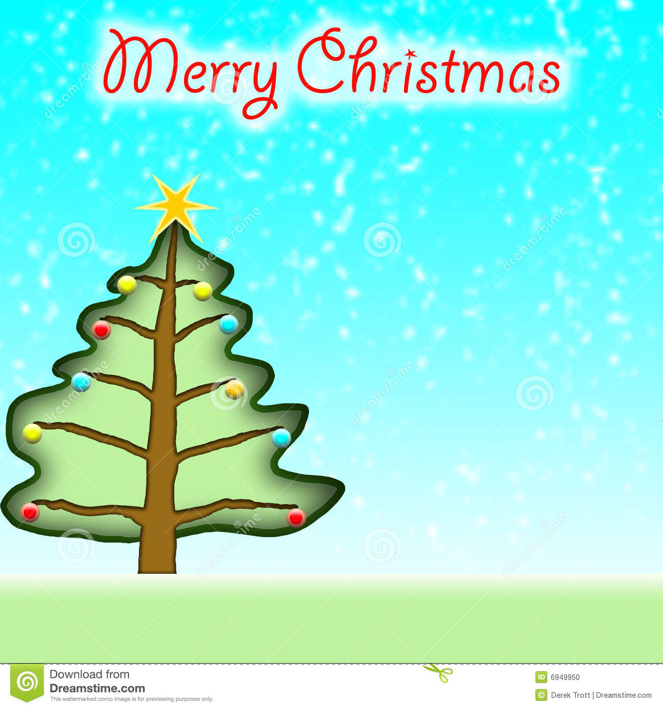 Mery Christmas.Christmas Tree Mery Christmas Stock Illustration