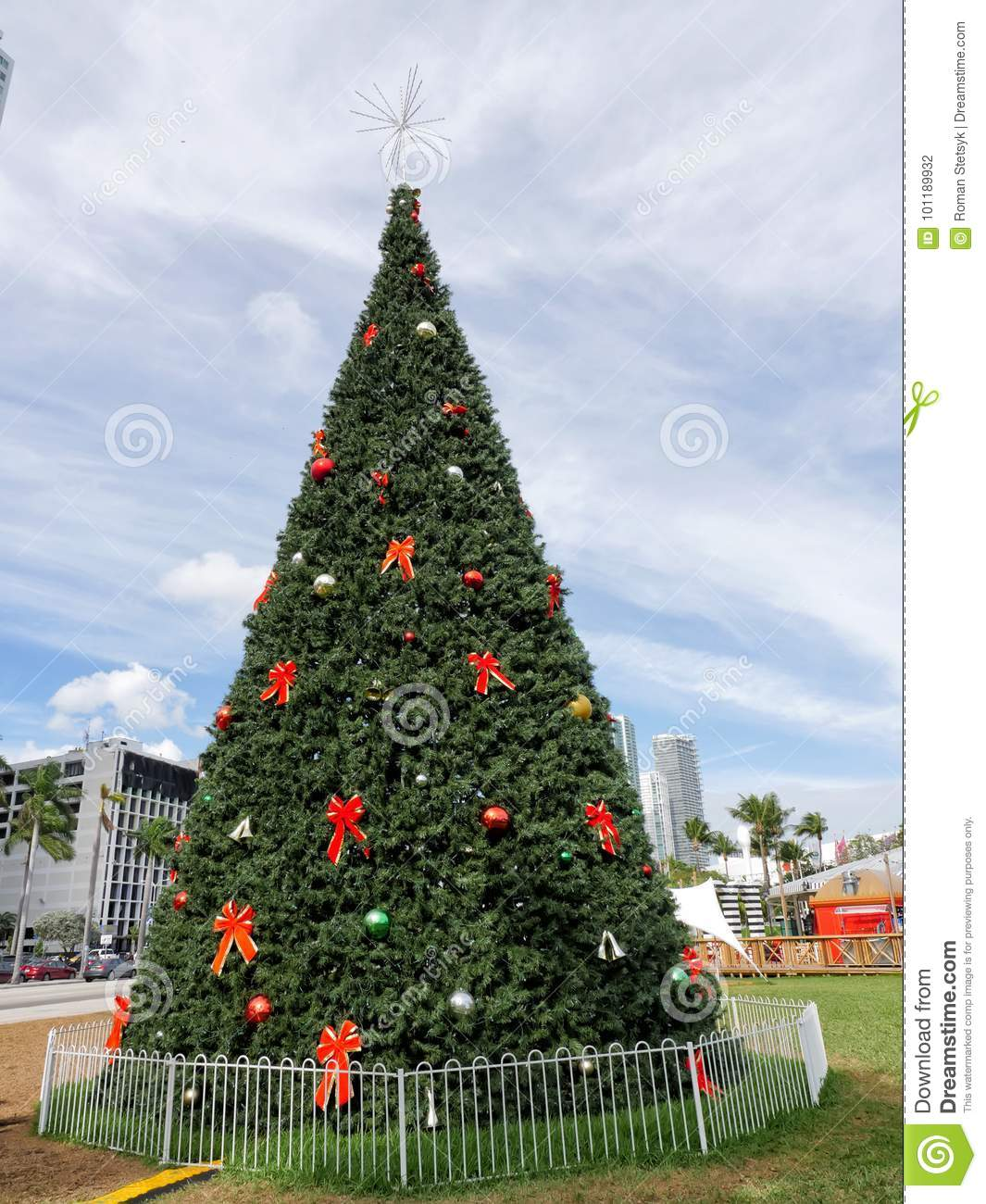 christmas tree in miami usa on cloudy sky background