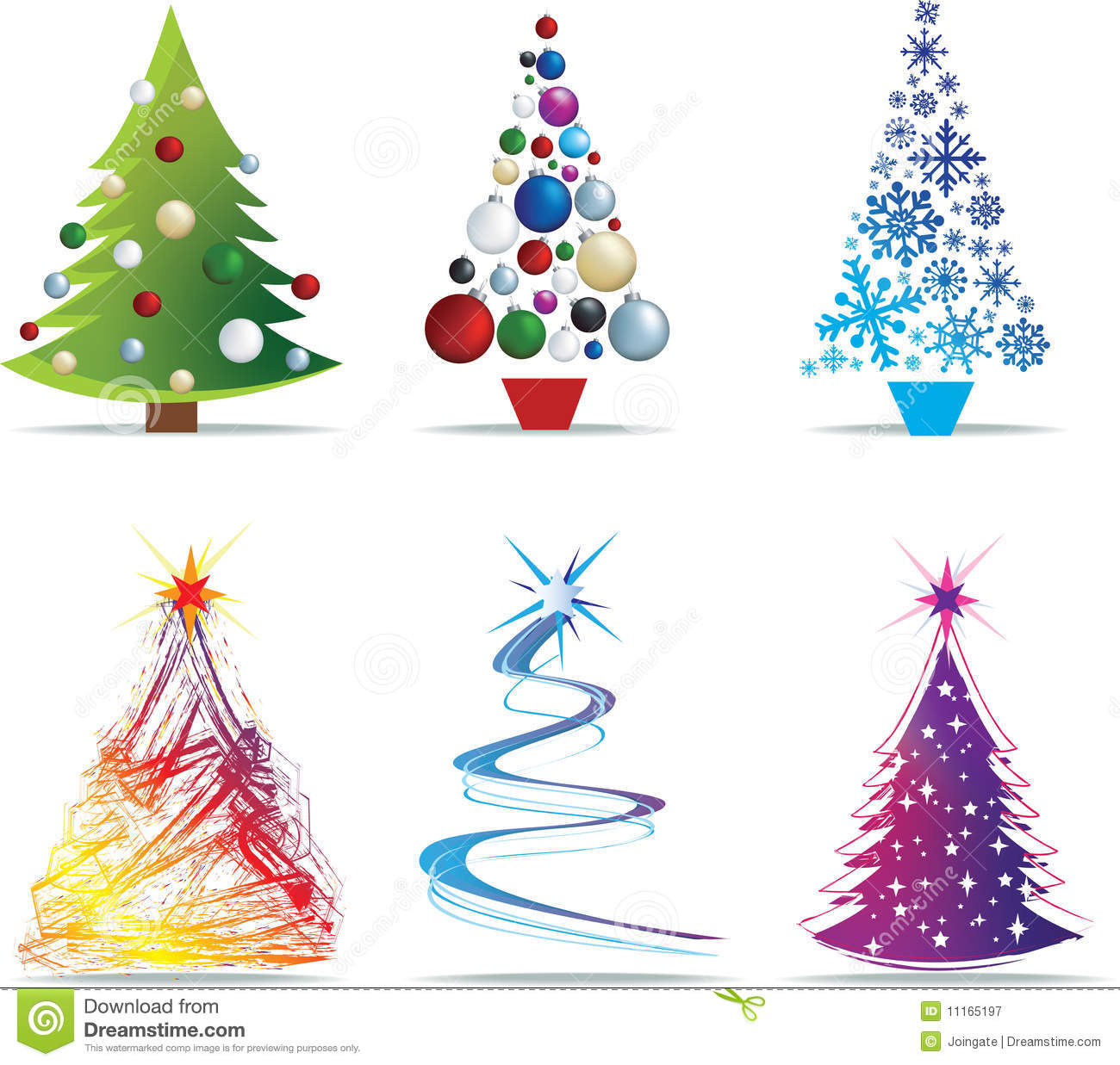 Christmas Tree Cliparts: Christmas Tree Modern Illustrations Stock Vector